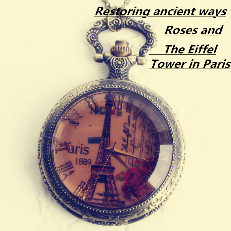 Car interior accessories retro fashion in Europe and America the Eiffel Tower in Paris Rome roses pocket watch. It's light brown
