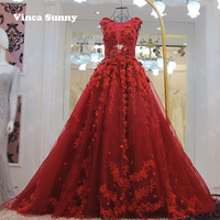 Vinca Sunny Red Wedding Dresses 2017 Scoop Neck Sheer Back 3d Flowers Wedding Gown Princess Ball