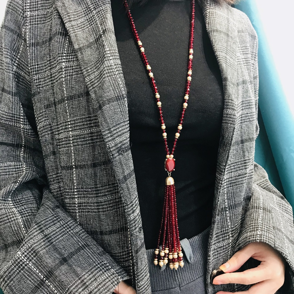 OLOEY Fashion Long Sweater Chain Women Retro Red Long Beads Necklaces Female Simple Tassel Chain Personality Jewelry Accessories