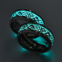 9Types Luminous Ring Couple Lovers Rings Glow In Darkness Gift For Boy Girlfriend Fashion Jewelry Gay Lesbian Party 12pcs