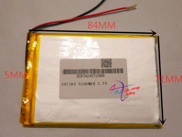 tablet battery  Size 507184 3.7V 3500mah Lithium polymer Battery with Protection Board For PDA Tablet PCs Digital Products