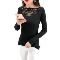 Fashion Women Knitted Tops Autumn Winter Sweaters Slash Neck Long Sleeve Sexy Slim Lace Mesh Beading Pullovers Pull Femme