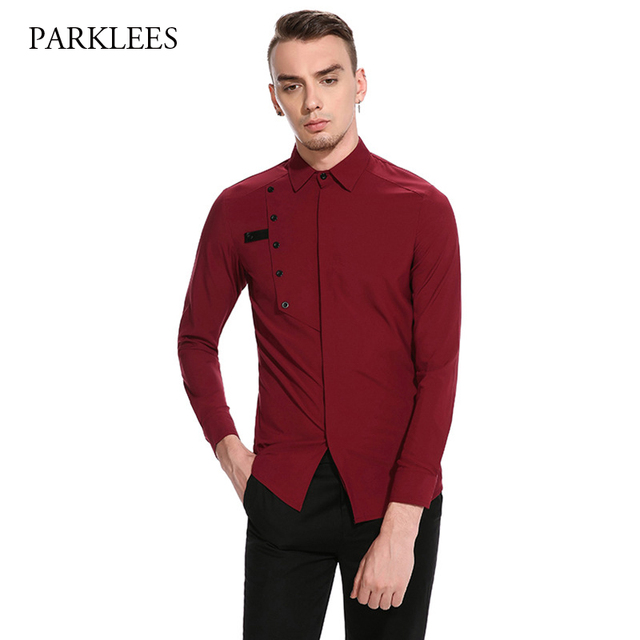 Extrêmement Brand Wine Red Men Shirt Chemise Homme 2017 Fashion New Coverd  TN88