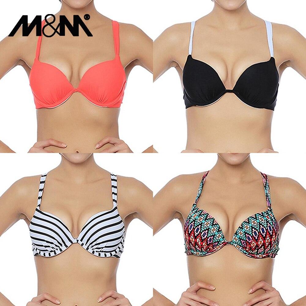 M&M Lady Sexy Cross Halter Brazilian Bikini Top Push Up Swim Bra Solid Print Swimwear Girl Swimsuit Sport Beach Bathing SuitT605