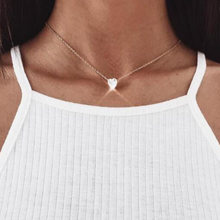 Bing Tu Delicate CZ Crystal Heart Pendants Necklaces Short Gold Silver Color Choker Necklace For Women Neck Jewelry chocker(China)