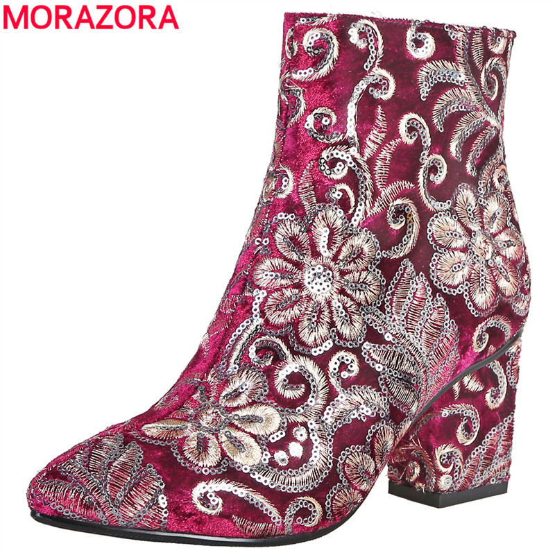 MORAZORA High quality Embroider women boots thick high heels autumn winter boots fashion footwear ladies shoes