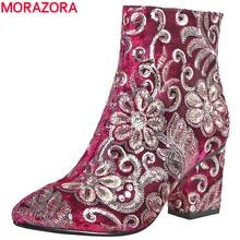 MORAZORA عالية الجودة التطريز النساء أحذية سميكة عالية الكعب الخريف الشتاء الأحذية موضة الأحذية السيدات أحذية حذاء من الجلد