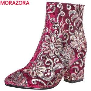 Image 1 - MORAZORA גבוהה באיכות לרקום נשים מגפי עבה גבוהה עקבים סתיו חורף מגפי אופנה נעלי גבירותיי נעלי קרסול מגפיים