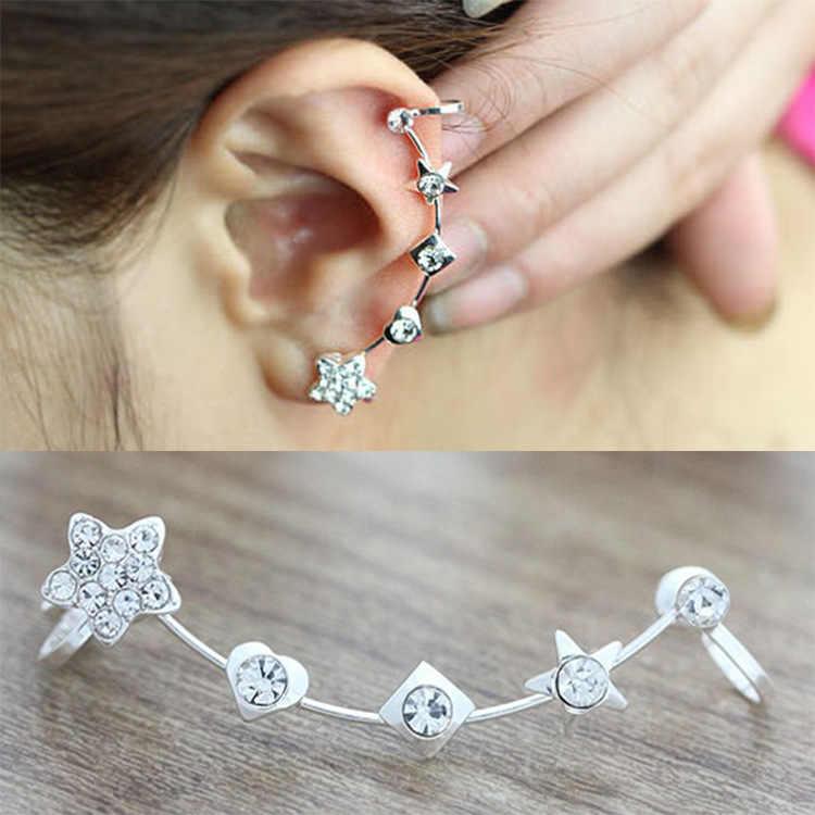 1 Uds. Hombre de la televisión de la estrella de cristal oreja Clip en los pendientes envolver para las mujeres moda niñas Piercing de La Oreja joyería