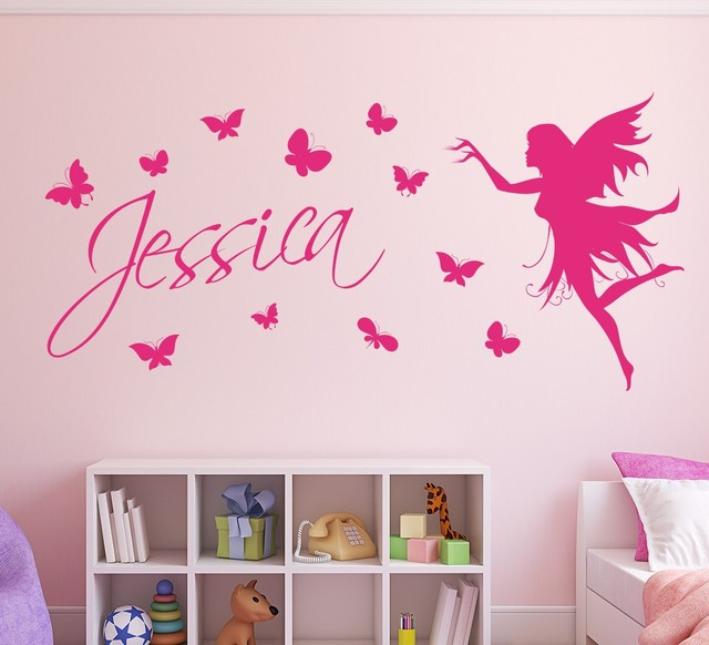 Butterfly Fairy Girls Wall Art Wall Sticker Decorative Butterflies  Personalised Name Wall Sticker Kids Home Decor