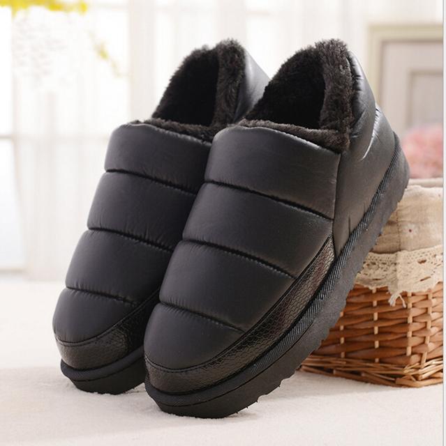 Chegada nova mulheres PU de couro à prova d' água botas de neve quente de pelúcia curta ankle boot feminino inverno sapatos mulher grande tamanho grande 41 45
