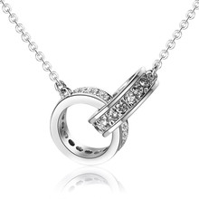 Wholesale 925 sterling silver necklace Double loop set drill Necklace jewelry fashion