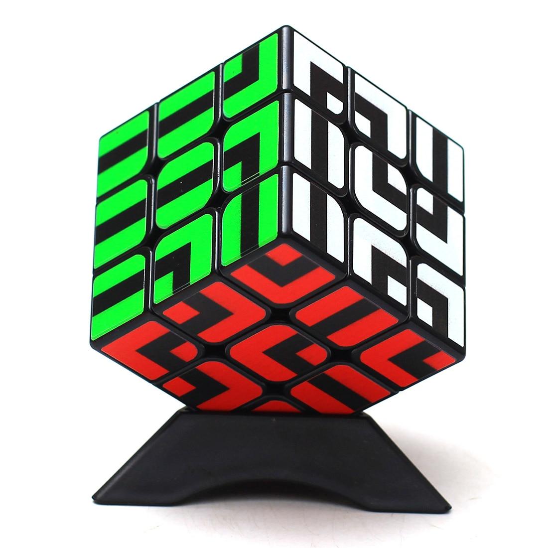 Z-cube Maze Type 3x3x3 Magic Cube Puzzle Cube Intelligent Gift Toys For Children Black Sticker Strange Shape Cube