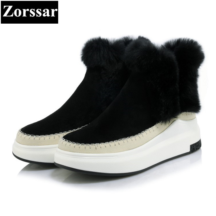 {Zorssar} 2017 NEW Classic winter Plush Women Boots Suede Ankle Snow Boots Female Warm Fur women shoes wedges platform boots esveva casual winter women shoes warm fur lace up snow boots wedges heel platform ankle boots black white plush fashion boots