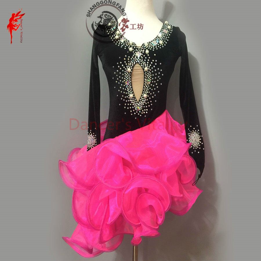 Gilrs latin dance clothing dress luxury velvet long sleeves latin dance dress for women latin dance clothes lady dress XXS-6XL