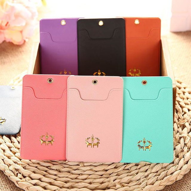Womens Business Card Holder Pu Leather Passport Ticket Card Cases