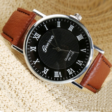 Unisex Roman Number Round Dial Brand Watch Men Women Luxury Fashion Casual Quartz Watches Classical Leather Wristwatches Relojes