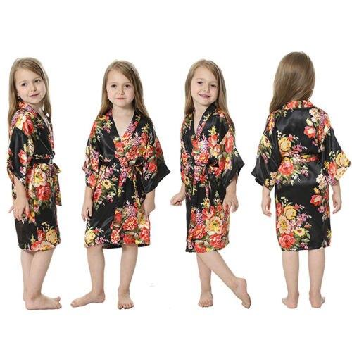 Silk Satin Blume Mädchen Kleid Kinder Kimono Robe Kinder Nachtwäsche Kleid Hochzeit