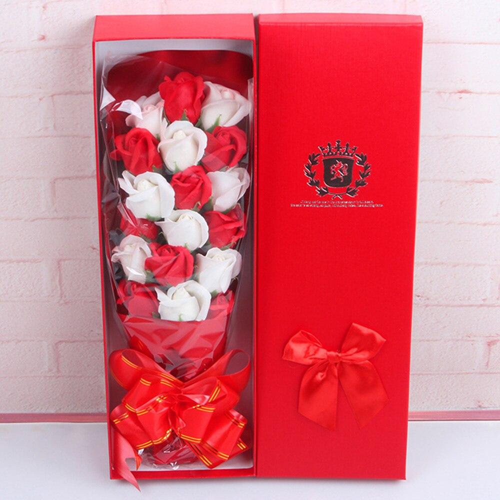 Мыло в Форме Розы 2 цвета межфазный букет роз красивый подарок мыло в коробке Роза романтическое украшение для дома 18 шт - Цвет: red