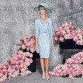 New 2016 Blue Knee-Length Mother of the bride dresses Three Quarter Sleeve With Jacket Lace Evening dress Vestido mae da noiva