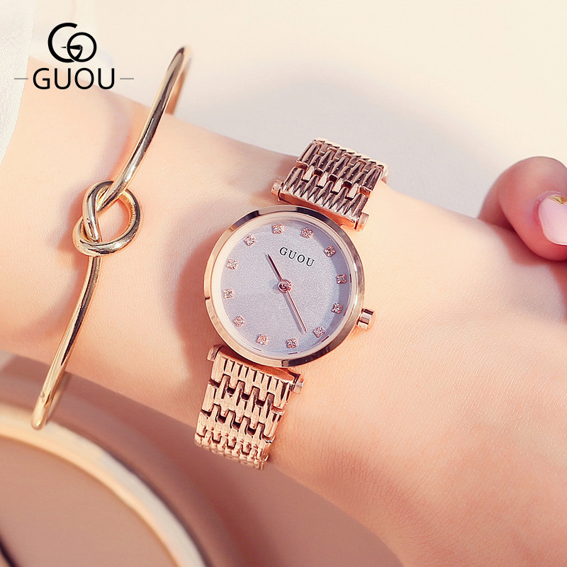 Original GUOU Bling Crystal Rose Gold Full Stainless Steel Quartz Women Ladies Wristwatch Wrist Watch Bracelet 8059 цена и фото