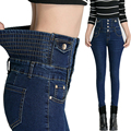 Spring waist jeans female feet pencil pants casual large size thin elastic waist pants abdomen Ms. breasted