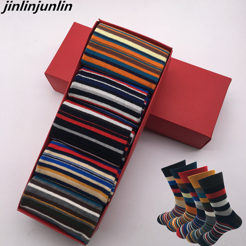 2020 New Men's Socks Casual Men Socks Color Stripes Five Pairs Of Large Size 45-46-47-48 Fashion Design Cotton Socks No Gift Box