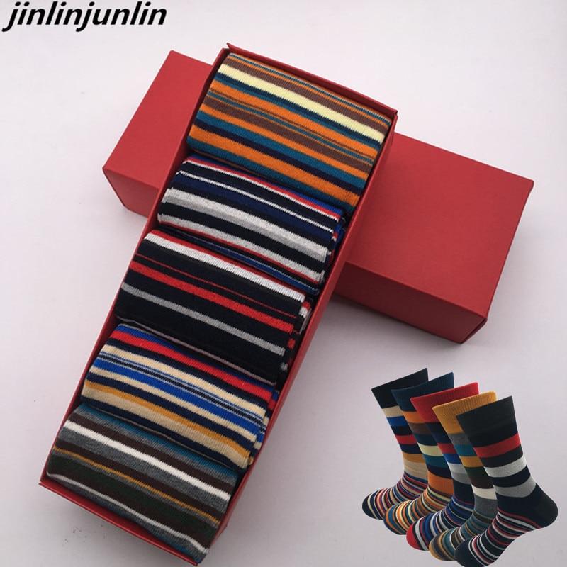 2020 New Men's Socks Casual Men Socks Color Stripes Five Pairs Of Large Size 45-46-47-48 Fashion Design Cotton Socks No Gift Box