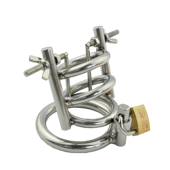 New stainless steel male chastity device penis stretching urethral dilator cock cage scrotum stretcher cockring sex toys for men metal cockring penis cage with anti off ring stainless steel male chastity device adult sex toys cock rings for men cb6000s