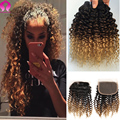 Cambodian Virgin Hair With Lace Closure Ombre Afro Kinky Curly Hair 3Bundle With Closure Ombre Peruvian Virgin Hair With Closure