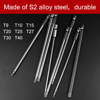 8Pcs T9 T40 150mm Lenght Magnetic Torx Screwdriver Bits 1 4 Hex Shank S2 Steel Electric