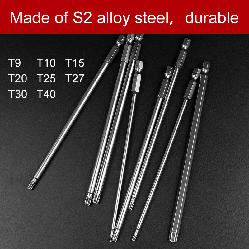 8Pcs T9-T40 150mm Lenght Magnetic Torx Screwdriver Bits 1/4 Hex Shank S2 Steel Electric Screwdrier Tool