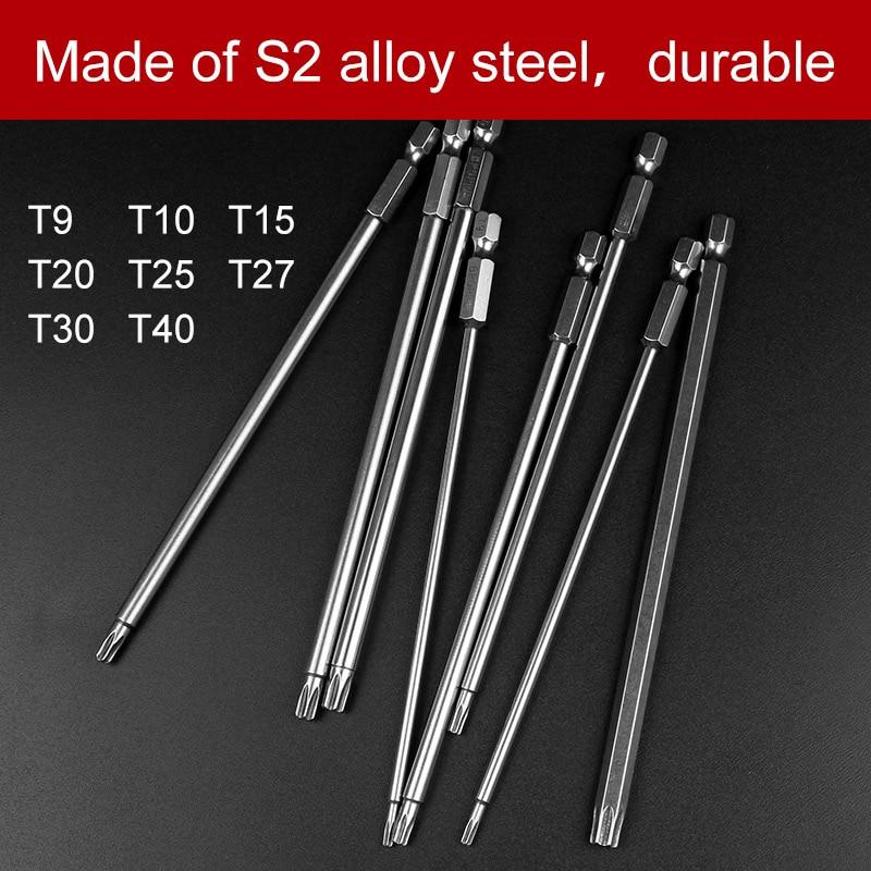 8Pcs T9-T40 150mm Lenght Magnetic Torx Screwdriver Bits 1/4 Hex Shank S2 Steel Electric Screwdrier Tool