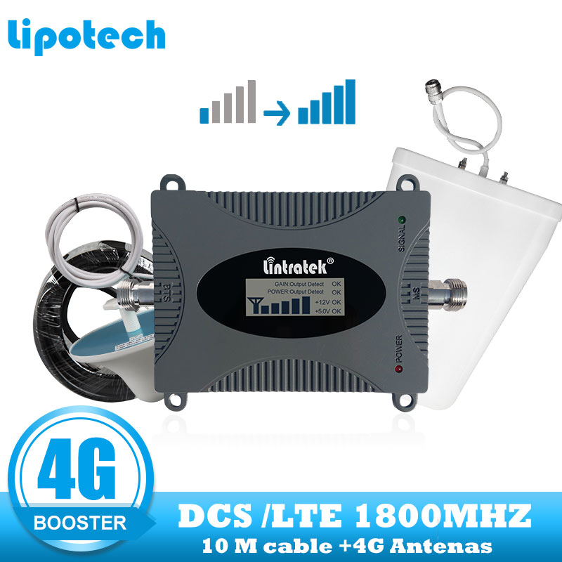 Lintratek GSM 1800 4G FDD LTE Mobile Signal GSM Booster DCS 1800mhz Cellular Repeater Cell Phone 4G Internet Network Amplifier