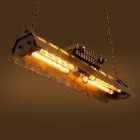 Лофт железный подвесной светильник 4 лампочки Эдисона. Ночной клуб промышленные стимпанк Металл панк светильник Винтаж Ретро деко осветите