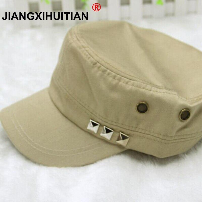 2017 New 1pc Classic Women Men Snapback Rivets Caps Vintage Army Hat Cadet Military Patrol Cap Adjustable Gorras Baseball Unisex