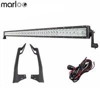 Marloo 5D 50 인치 288W LED 작업 표시 줄 (장착 브래킷 키트 포함) 2007-2017 JEEP WRANGLER JK