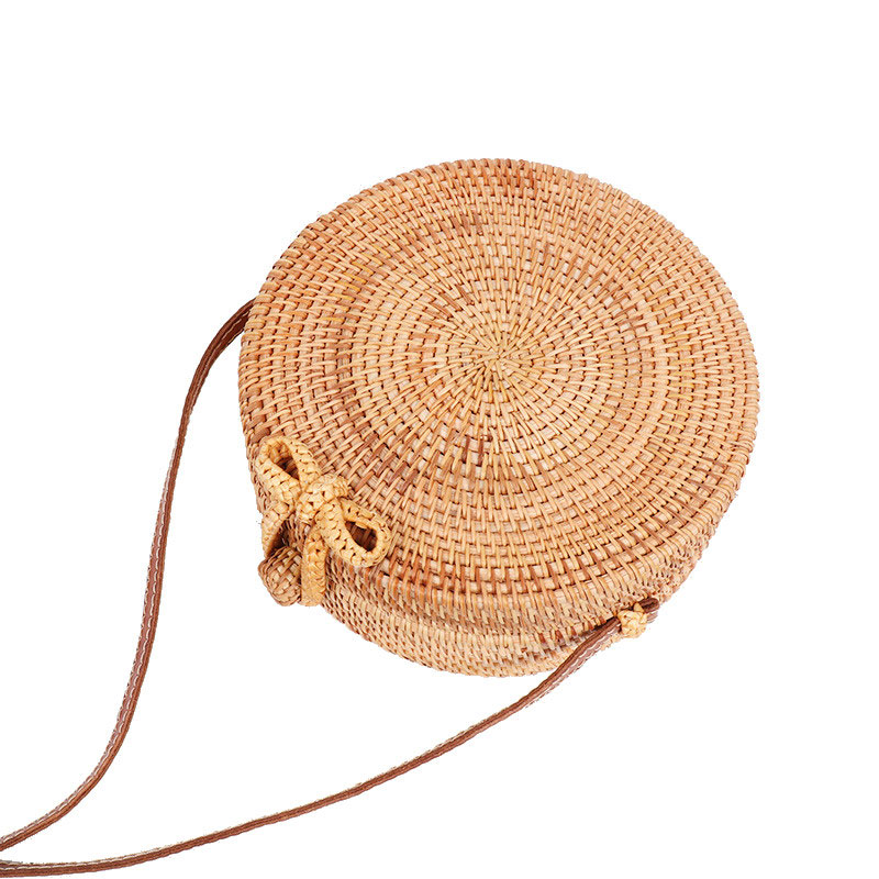 Round Butterfly Buckle Rattan Straw Bags Bali Island Hand Women Bag Satchel Wind Bohemia Beach Circle Shoulder Bag Handbag