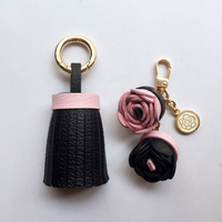 Luxury Genuine Lambskin Real Sheep Leather Tassel Keychain Flowers For Women Bags Car Key Chain Key