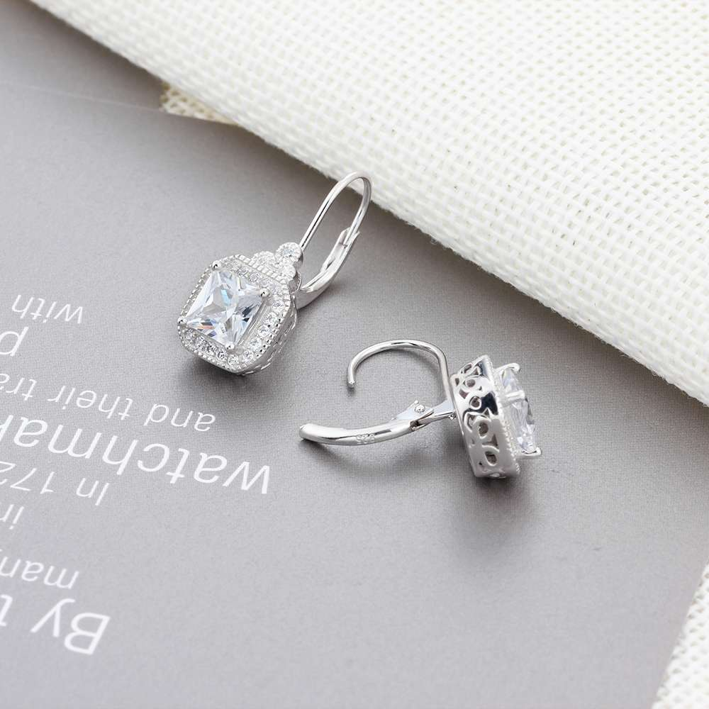 925 Sterling Silver Earrings Vintage Style Square Cubic Zirconia Stone Wedding Earrings Fashion Jewelry Gift for Women(EA102021)