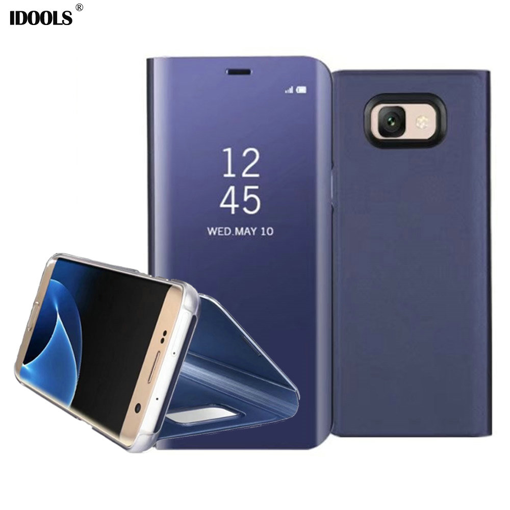 For Samsung Galaxy J7 Max Case 5.7 Inch Dirt Resistant Mirror Flip Stand Cover Phone Bags Cases for Samsung J7 Max Capa IDOOLS