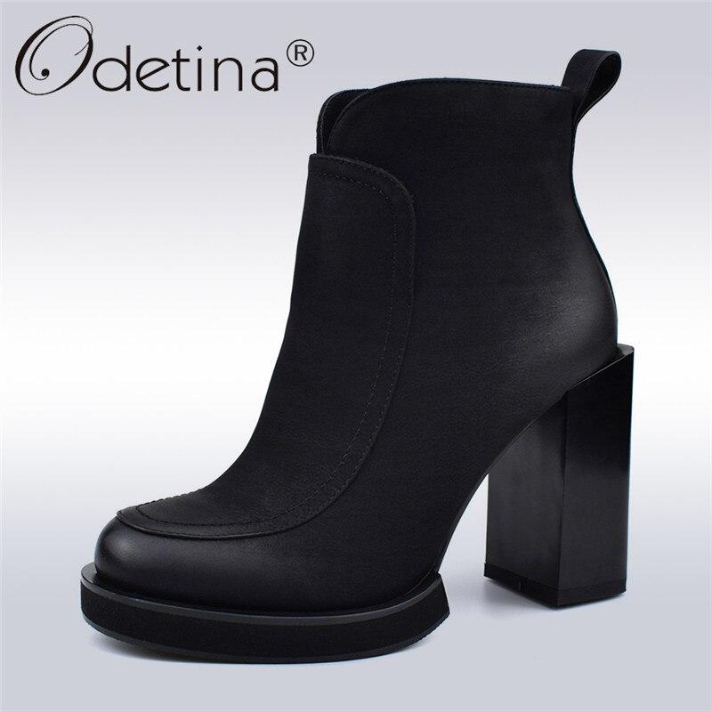 Odetina Herbst Winter Neue Mode Schleifen Stiefel Frauen Super High Heels Seite Zipper Plattform Concise Stiefeletten Warme Plüsch Schuhe