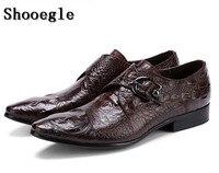 SHOOEGLE модные Для мужчин s свадебные модельные туфли с пряжкой чёрный; коричневый дизайнер мужской обуви Для мужчин кожа Бизнес офисные лофер