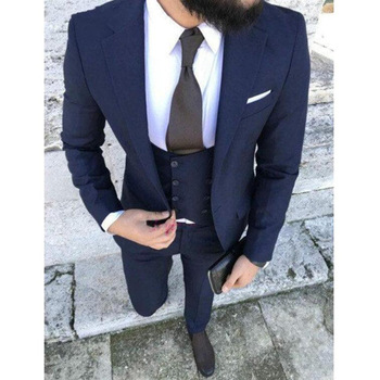 Stylish Design One Button Navy Blue Groom Tuxedos Groomsmen Notch Lapel Mens Suits Blazers (Jacket+Pants+Vest+Tie) W:1161