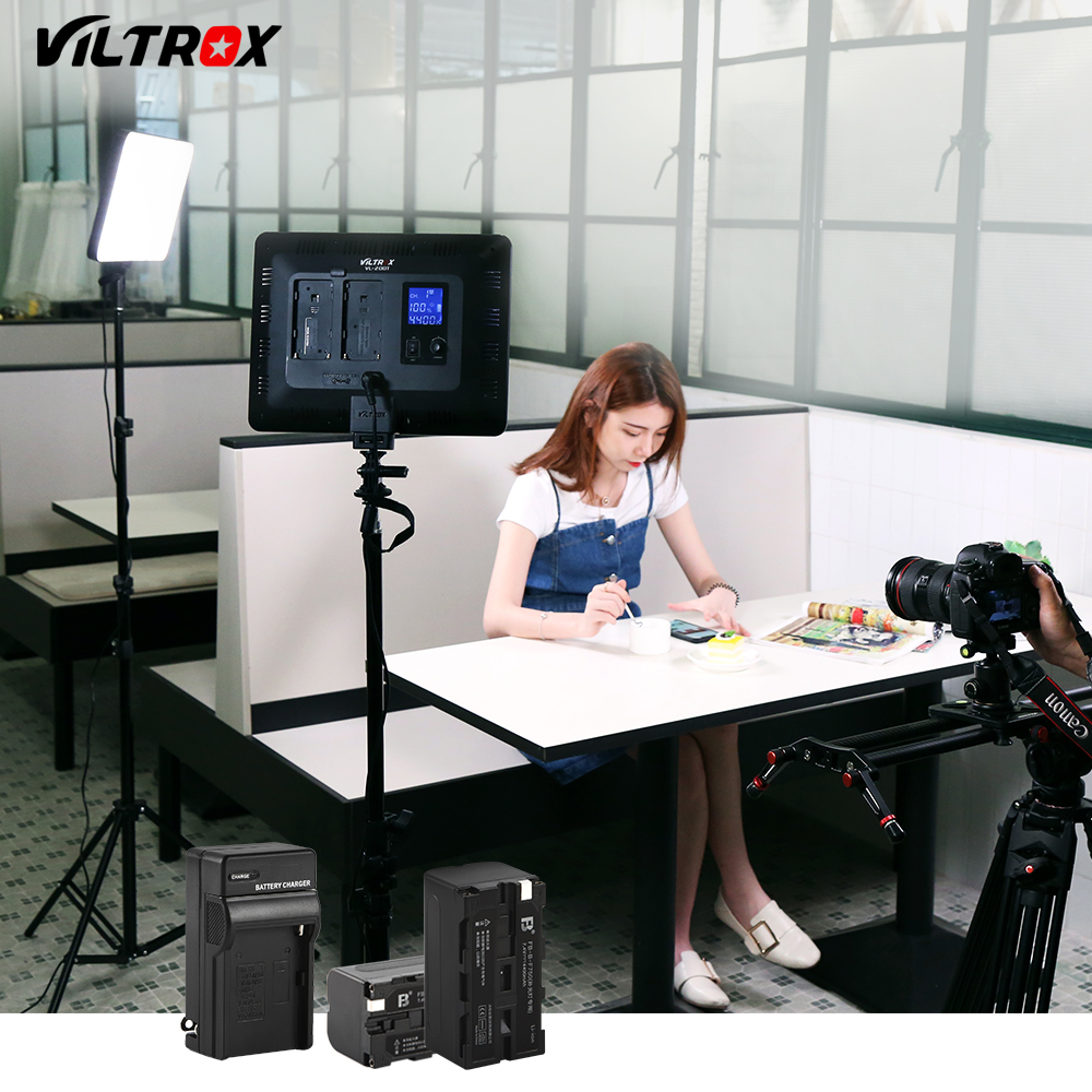 Viltrox VL-200T 30W Wireless Remote LED Video Studio Light Lamp Slim Bi-Color Dimmable + Light stand for Camera Facebook YouTube viltrox vl 200 pro wireless remote led video studio light lamp slim bi color dimmable ac power adapter for camcorder camera