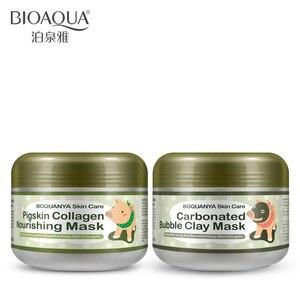 BIOAQUA 2 uds cerdito, máscara nutritiva de colágeno de piel de cerdo, mascarilla facial de arcilla con burbujas carbonatadas, juego de blanqueamiento hidratante para el cuidado de la piel