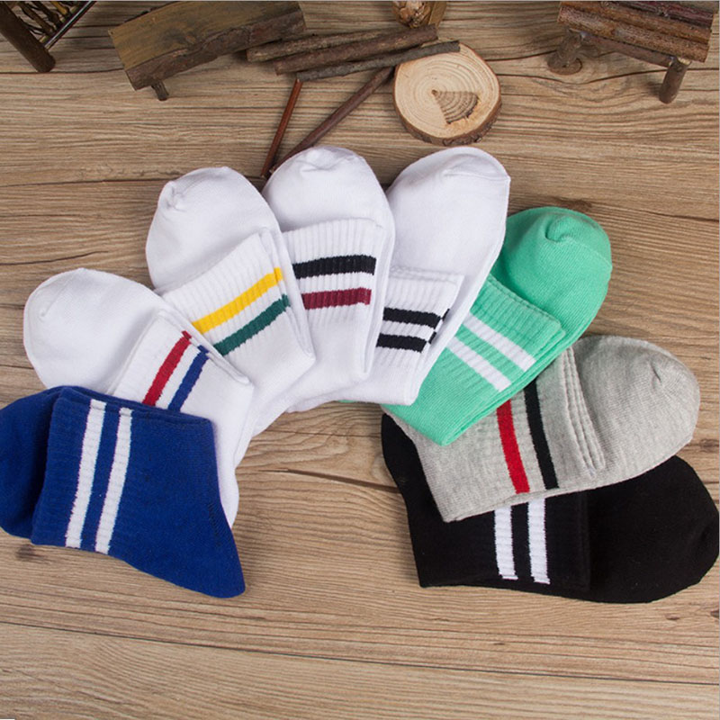 2017 New Cotton Sock Casual Women Men Two Lines Short Socks Couples Sox with Harajuku Style Spring Summer High Quality