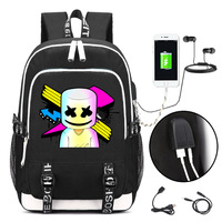 Marshmello face alone DJ Backpack with USB Charging Port and Lock &Headphone interface School bag College Student Work mochilas