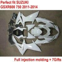 OEM Fit Обтекатели для Suzuki GSXR600 GSXR750 11 12 13 14 комплект обтекателей GSXR 600 750 2011 2012 2013 2014 Белый