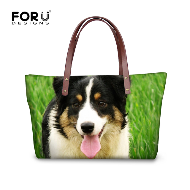 Whole Cool Gl Pugs Women Handbags Retro Animal Print Ping Bag Scotland Border Collie Boston